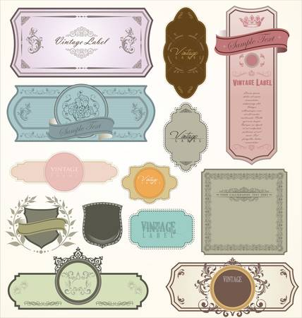 oval: vintage labels - set Illustration