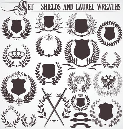 crests: Set - shields and laurel wreaths