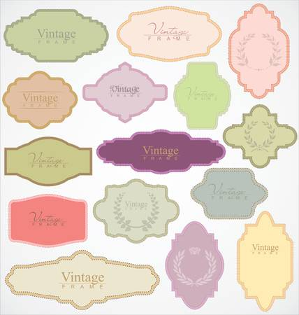 cute text box: Set of ornate vector frames and labels