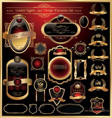 aristocrático: Vector set de lujo de oro enmarcada decorativa etiqueta adornado
