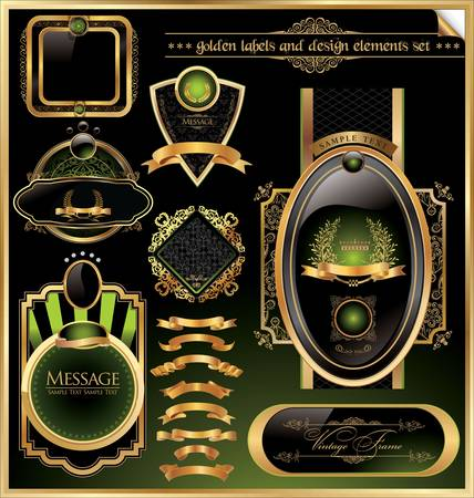 golden labels and design elements Vector