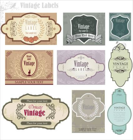 stile liberty: serie di ornato etichette d'epoca