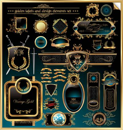 golden labels and design elements set Vector