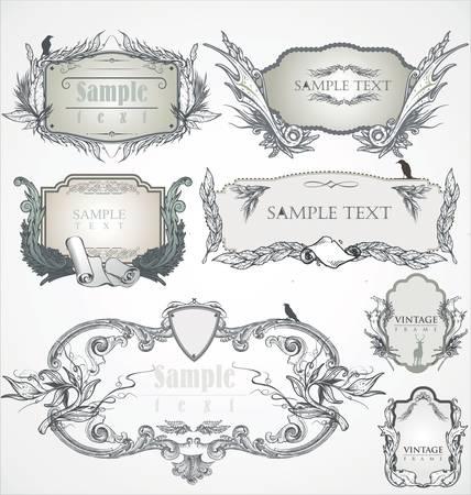 dirty hands: Vintage frame. Flourish heraldry elements.  Illustration