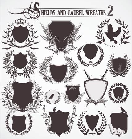 escudo de armas: Coronas escudos y Laurel - Set 2 Vectores
