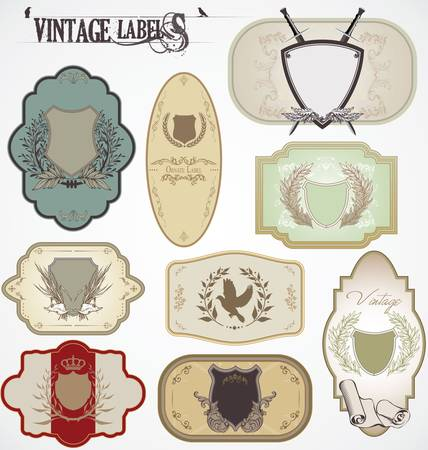 vintage labels with laurel wreaths and shields Stock Vector - 12021821