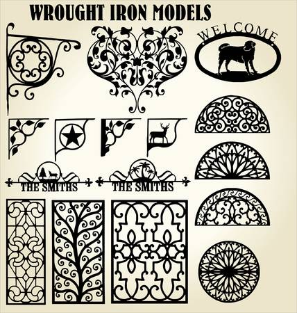 victorian fence: Wrought Iron models Illustration