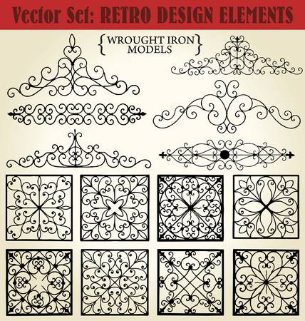 iron fence: Wrought Iron models Illustration