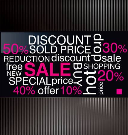 collage art: Sale Discount Advertisement background vector illustration - word collage