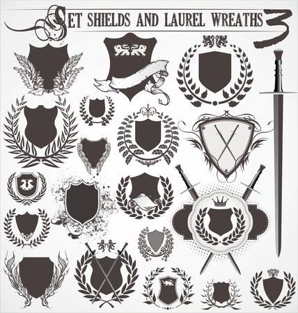 laureles: conjunto - escudos y coronas de laurel 3 Vectores