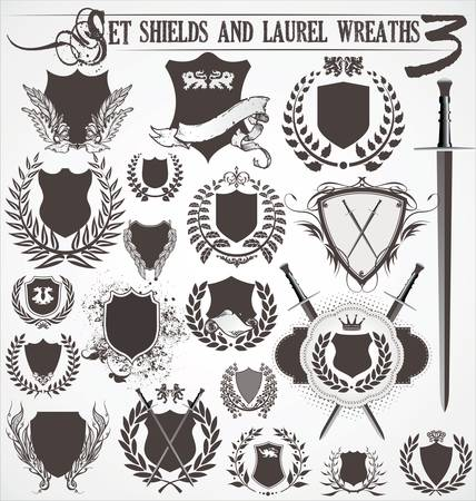 badge shield: set - shields and laurel wreaths 3