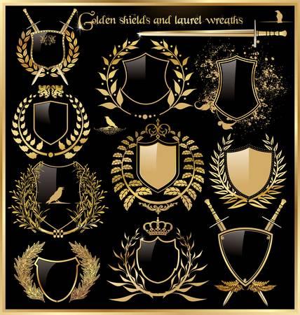 coat of arms: escudos de oro y coronas de laurel