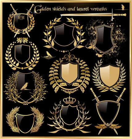 crests: golden shields and laurel wreaths
