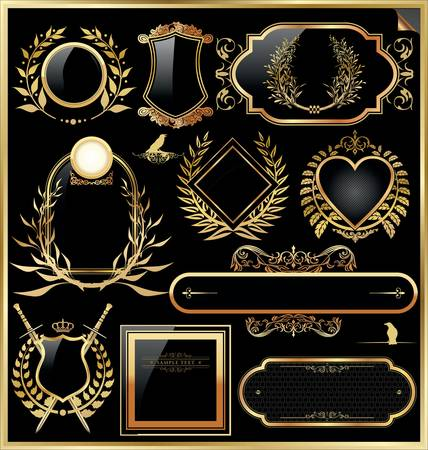 ruban noir: Ensemble Vecteur de l'or noir - encadrées étiquettes Illustration