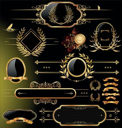 dingbats: Vector set of black gold - framed labels
