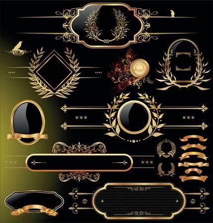 dingbats: Vector set of black gold - framed labels