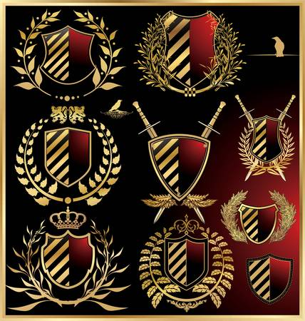 shield emblem: set vettore delle scudi neri con alloro dorata