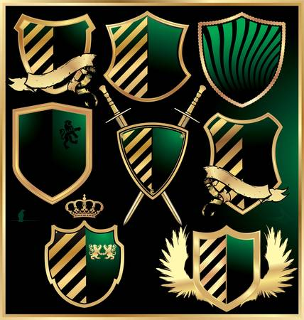 Gold and green shields set Vector