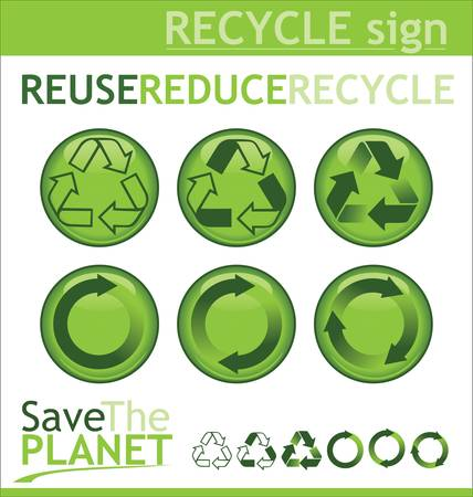 recyclable waste: Recycle signs