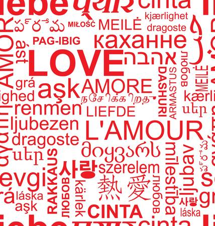seamless love background - word collage in different language Stock Vector - 12353167