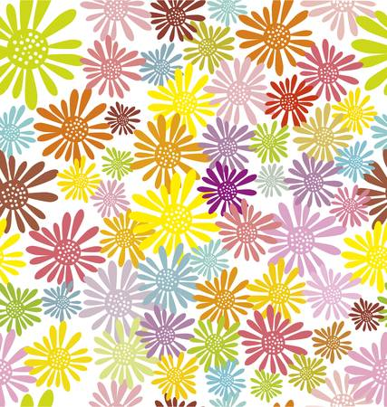 hippie flowers seamless pattern Vector