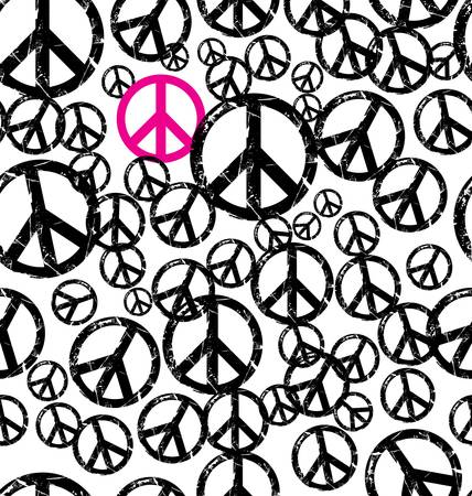 A seamlessly repeatable retro peace sign background Illustration