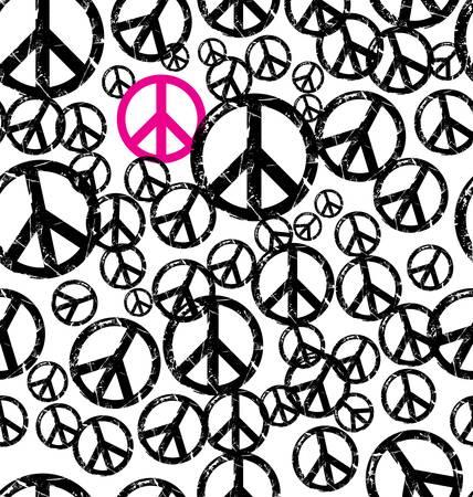 symbole de la paix: Une mani�re transparente reproductible r�tro fond signe de paix