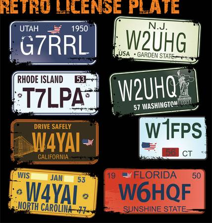 retro licence plates vector illustration