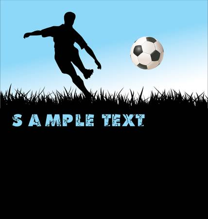 soccer players with ball on blue background Vector