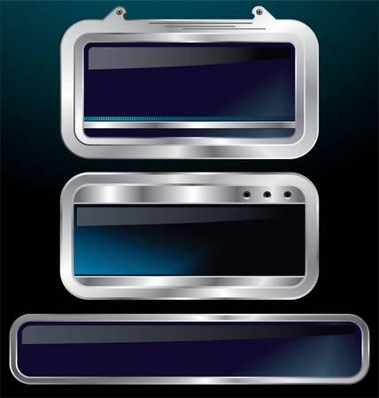 a set of chrome metallic labels vector illustration Vector