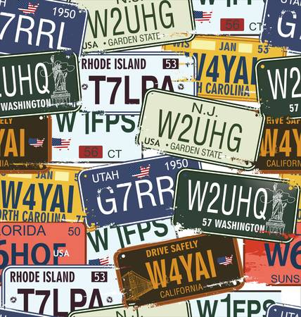 license plate: Seamless Background - Retro Auto License Plates Illustration