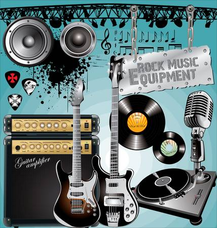 Rock Music Equipment Illustration