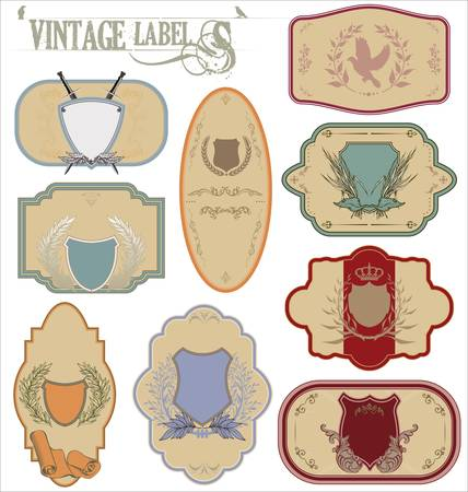 eagle shield and laurel wreath: Vintage labels