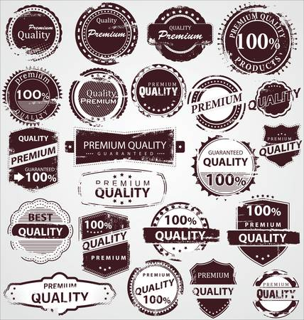 Grunge Vintage Quality Labels Stock Vector - 12353302