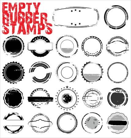 timbre postal: Sellos de goma vacíos Grunge - ilustración vectorial