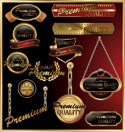 Premium Quality Golden Framed Labels Vector