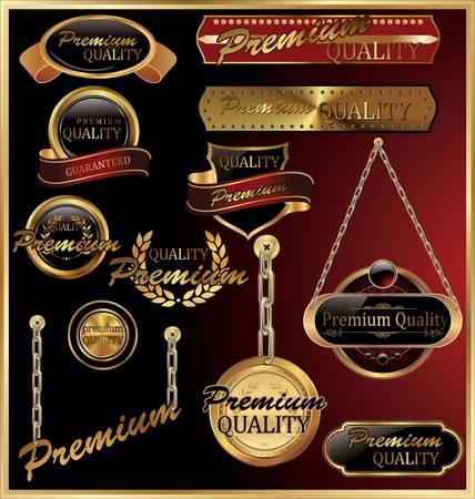 Premium Quality Golden Ingelijste Labels Vector Illustratie