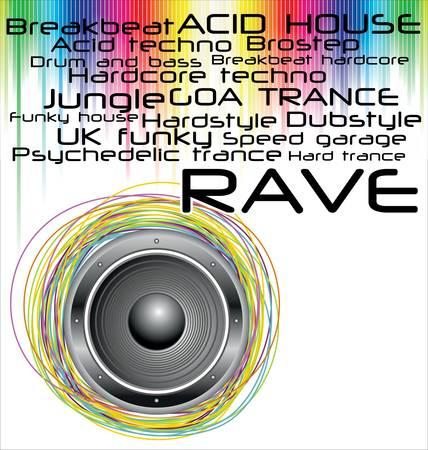 rave: rave music genres background Illustration