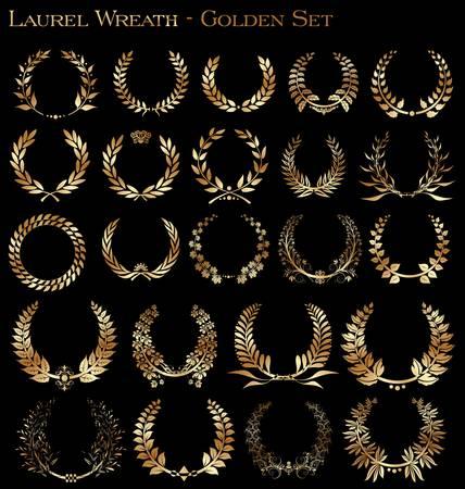 laurel leaf: Ajuste de la corona de laurel de oro sobre el fondo negro