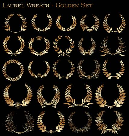 Set from gold laurel wreath on the black background Vector