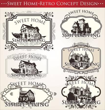 sweet home: dulce hogar - concepto de dise�o retro Vectores