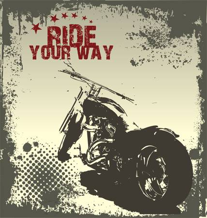 motorcycle helmet: Ride Your Way - motorcycle grunge background Illustration