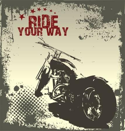 motor race: Ride Your Way - motorfiets grunge achtergrond Stock Illustratie