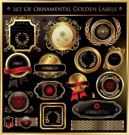 ornamental shield: Set Of Ornamental Golden Labels Illustration