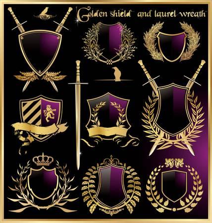 golden shield and laurel wreath set Illustration
