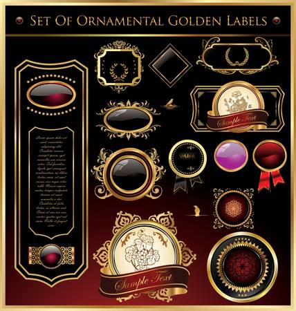 aristocrat: Set Of Ornamental Golden Labels And Medallions Vector Illustration
