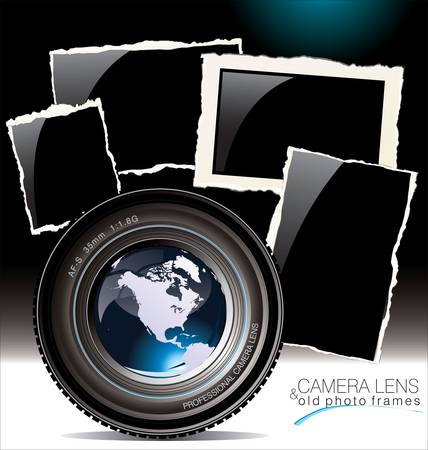photo equipment: camera lens with old photo frames