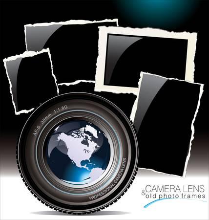 při pohledu na fotoaparát: Objektiv fotoaparátu se starými fotorámečky Ilustrace