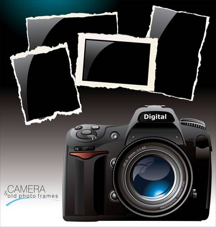 photo equipment: Photo camera and old photo frames