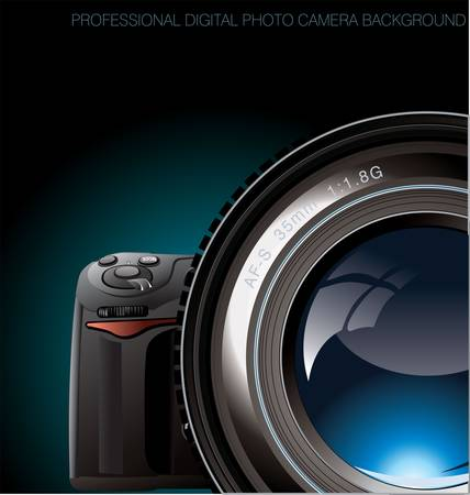 photo equipment: Professional digital photo camera background Illustration